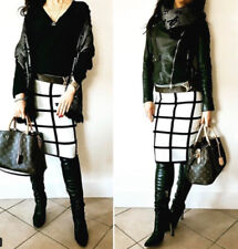 Polyester Checked High Waist Skirts for Women