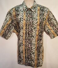 Kahala Men's Tribal Green Design Hawaiian Shirt Size Large Excellent Condition