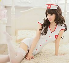 disfraz erotico enfermera White Nurse Dress Garter Hat Cosplay Costume Uniform
