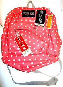 NEW WITH TAGS JANSPORT Coral Sparkle/ White Dots 1,550 Cubic Inches JSOOT50FONR