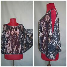"""Women's """" Michelle """" Sheer Abstract Animal Print Open Shoulder Sexy Blouse sx S"""