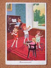 R&L Postcard: Comic, European Children Playing Piano/Flute/Violin Kammermusik