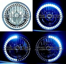 "7"" H6024/6014 White LED Angel Eye Ring Halo Headlight Blinker Turn Signal Light"