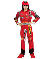 Adults Unisex Red F1 Racing Car Driver Suit /& Hat Fancy Dress Costume