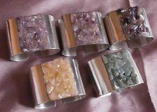 5 ronds de serviettes vintage en métal argenté & pierres colorées