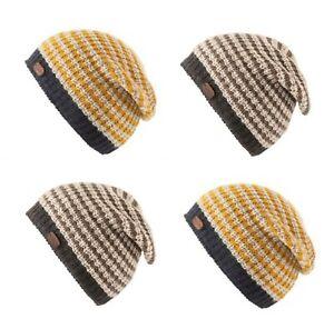 Kusan 100% Wool Slouch Rib Knit Beanie Hat PK1910 Yellow or Grey