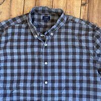 J CREW Men's Heathered Cotton Plaid Shirt Size XL Blue Gray Flannel