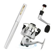 Portable Mini Aluminum Pocket Pen Shape Fishing Fish Rod Pole + Reel Silver