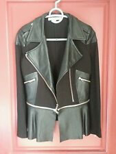 Superbe perfecto cuir modulable PJK gorgeous leather peplum jacket size S new!