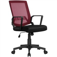 Mid Back Mesh Office Chair Wine Red Desk Chair With Rolling Casters Task Chair