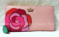 Kate Spade PWRU5665 Rambling Roses Rose Applique Lacey Zip Wallet Pink Multi NWT