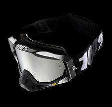 100% Gafas Cross RACECRAFT de espejo ABISMO NEGRO MX Gafas Negro Blanco