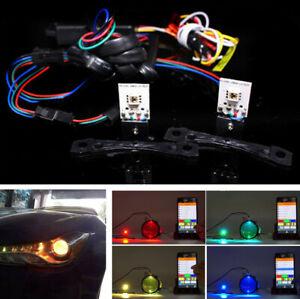 2Pcs RGB LED Devil Eye DRL Car Headlight Retrofit Kit Bluetooth APP Controller