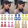 1 Pair Elegant Women Statement Big Geometric Dangle Earrings Gold Silver Jewelry