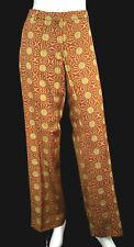 DRIES VAN NOTEN Brick Red & Gold Sun Jacquard Wide Leg Dress Pants 44