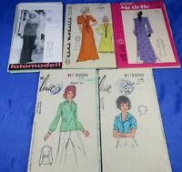 5 Schnittmuster 60/70er Jahre Bluse Kleid Neue Modelle/Die Linie DDR Größe m 50