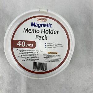 40 Pcs Magnetic Memo Holder Pack 4 Colors Whiteboard Refrigerator Pushpin Head