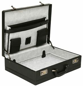 Mens Large Leather Look Attache Case Expanding Business Briefcase Bag