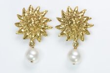 CHANEL 1980's Lion Pearl Earrings