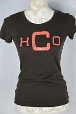 Hollister Womens XS Dark Brown Pink Embellished HCO Crewneck T-Shirt Fitted