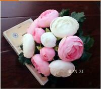 Bouquet Fleurs Artificielles Rose Têtes Soie pour Décoration Maison Fête Mariage