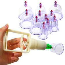 12 Cups Chinese Medical Healthy Body Vacuum Cupping Suction Therapy Massage Set
