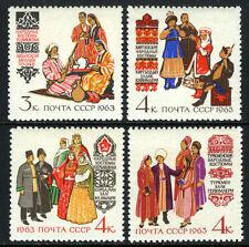 Russia 2723-2726, MNH. Costumes: Tadzhik,Kirghiz,Azerbaijan,Turkmenistan, 1963