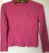 Ralph Lauren Women's Small Sweater Pink Pullover Cotton Cable Knit Long Sleeve