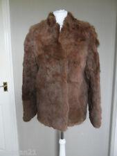 Edelson women's real rabbit fur coat, size 12, brown, long sleeve