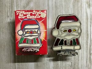 Vintage Tiffany-style Glo-Candle Commodore Cast-Iron Stained Glass Santa w/ Box