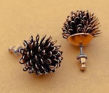 Vintage 15mm Gold Tone Metal Looped Wire Post Earrings