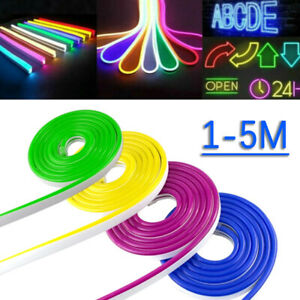 1/2/3/4/5M LED Strip Neon Tube Rope Light Flexible Silicone Sign Waterproof 12V