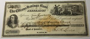 1877 CITIZENS BANK OF JEFFERSON TEXAS $59. CHECK DATED JUNE 25 VERY CHOICE