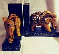 (2) Matching Elephant Bookends - Ornately Carved - Urban Trends Heavy Resin