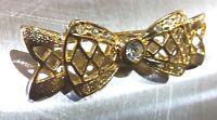 Brosche Schleife Strass Anstecknadel Pin Brooch 46x16mm vergoldet Anstecker