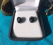 Rare natural Black Star Diopside 6x8mm cabochon sterling silver stud earrings 🌌