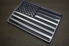AMERICAN FLAG 3D ABS EMBLEM DECAL STICKER LOGO FOR CARS BLACK CHROME FINISH