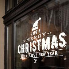 Buon Natale Felice Anno Nuovo Windows Muro Adesivi Decalcomania Decorazione B36
