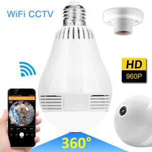 360° Panoramic IP Security Camera Light Bulb HD Fisheye 960P Wifi Hidden Camera