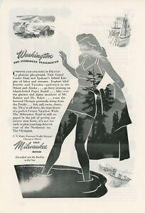 1946 Milwaukee Road Railway Ad Washington Vintage Travel Retro Pacific Northwest