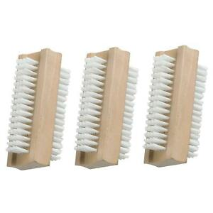 3 x Double-Sided Wooden Nail Scrubbing Brush Soft Cleaning Bristles