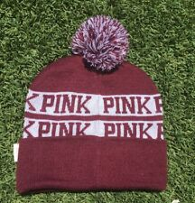 NWT VICTORIA'S SECRET PINK SKI CAP KNIT HAT BEANIE BURGUNDY NEW