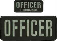OFFICER EMBROIDERY PATCH 4X10 AND 2X5 HOOK ON BACK BLK /GRAY