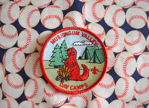 Muskingum Valley Day Camps Red Dinosaur Patch BSA Cub Boy Scouts of America