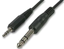 "3.5mm Stereo Jack Plug Small to Big 1/4"" 6.35mm Stereo Jack Plug Lead 25cm"