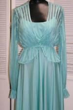 Vtg 2pc Full Skirt MAXI DRESS Sheer Crop JACKET Mint Green ~ Sz S/M (D5)