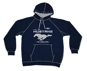 """Mens Ford Mustang Pullover Hoodie Navy Blue Sweatshirt Mustang Logo """"SALE"""""""