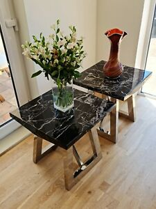 Two Marble Lamp Tables with Chrome Metal Base