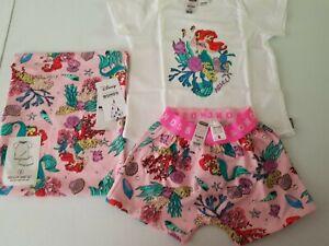 Bonds Disney x Little Mermaid Summer PJS Pyjamas Set BNWT Pink Size 2 free post