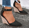 Womens Ankle Strap High Wedge Heels Pointed Toe Causal Roman Retro Sandals Shoes